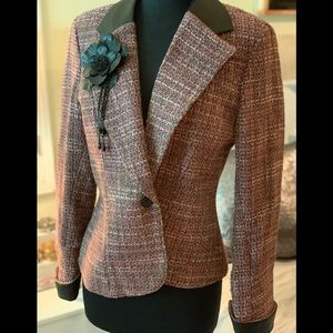 Bella Pelle woman's wool and leather trim blazer